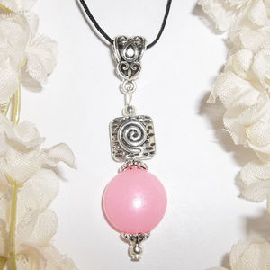 Pink Silver Beaded Necklace Pendant Charm NWT 4804